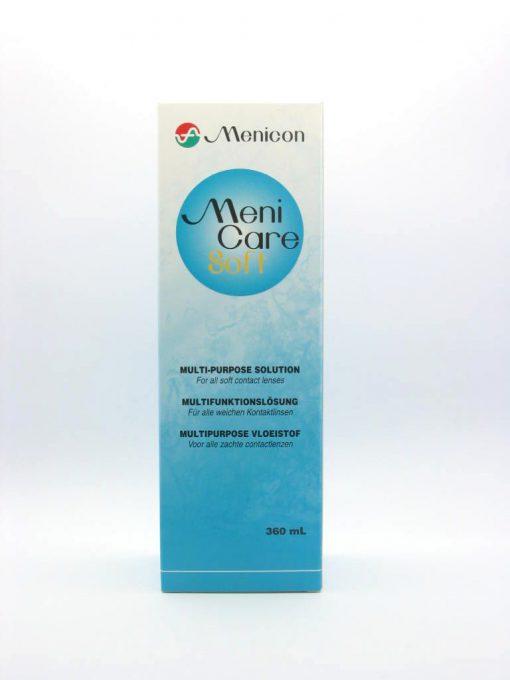 Υγρόκαθαρισμού και αποθήκευσηςμαλακώνφακών επαφής MeniCare softτης Menicon σε συσκευασία 360ml.