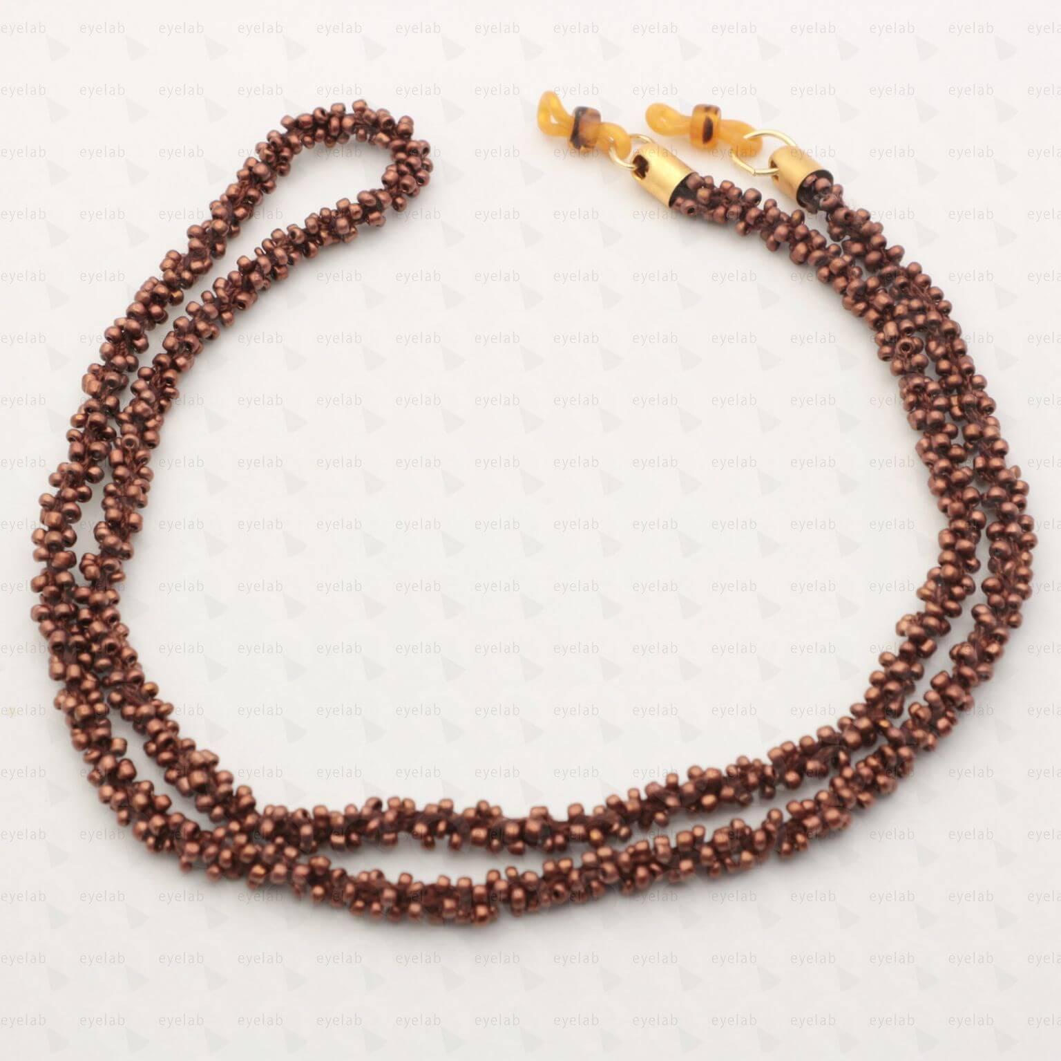 Κορδόνι για γυαλιά με χάντρες σε καφέ χρώμα 3ed63676b2e